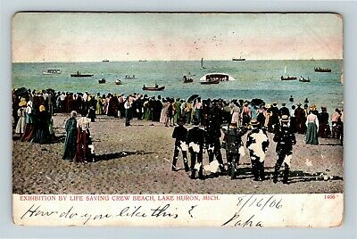 Lake Huron MI, Life Saving Crew, Beach, Michigan, Vintage Postcard R18