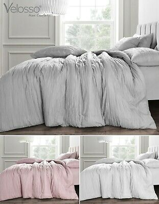 Crinkle Ruched Duvet Cover and Pillowcase(s) Soft Bedding Set Blush White Grey