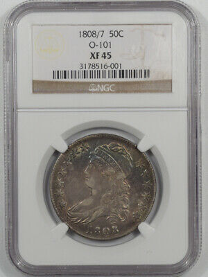 1808/7 Capped Bust Half Dollar Ngc Xf-45 O-101 Well Struck Pretty Color!