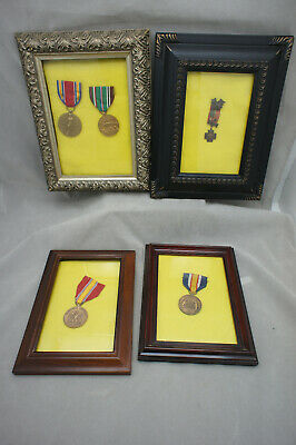 Military USA Spanish World War Service Medals Collection Mixed Lot of 5, Framed