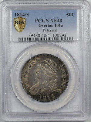 1814/3 CAPPED BUST HALF DOLLAR - OVERTON 101a PETERSON PCGS XF-40 PQ VERY PRETTY