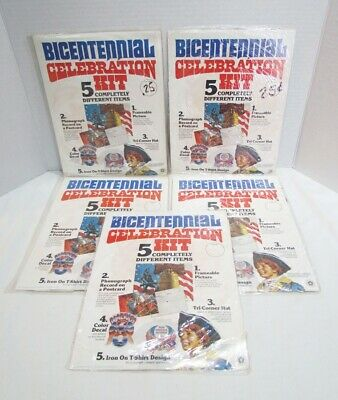 LOT of 5 BICENTENNIAL CELEBRATION KITS 1975 W/ RECORD DECAL IRON-ON HAT PICTURE
