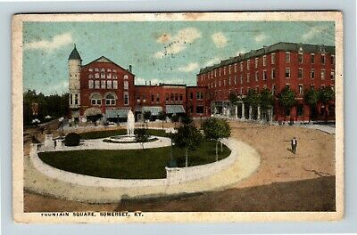 Somerset KY, Fountain Square, Kentucky, Vintage Postcard R20