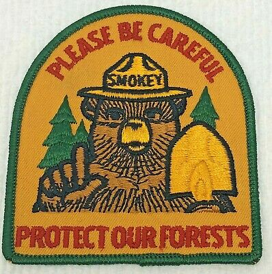 """⫸ Large Official SMOKEY BEAR """"Protect Our Forests"""" 1970 Embroidered Patch New"""