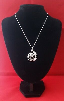 AMMONITE SHELL Pendant Hung on a Stamped 925 Sterling Silver Necklace Chain