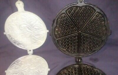 2 Antique Cast Iron Heart waffle and Pizzelle Biscuit Cookie Press and  waffle