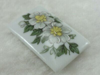 Limoges Rectangular Floral Brooch White Flowers on White Porcelain Different
