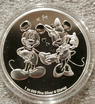 2020 Disney Mickey Mouse & Minnie Mouse 1 oz. 999 Silver Coin 2 dollar Niue love