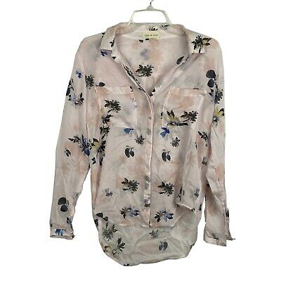 Anthro Cloth & Stone Women's Long Sleeve Floral button up shirt pink Size S