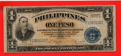 The Philippines 1922 Silver Certificate 1 Peso Banknote