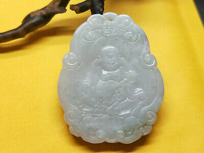 100% Chinese Hand-carved aristocratic wearing Jadeite jade Big Buddha pendant