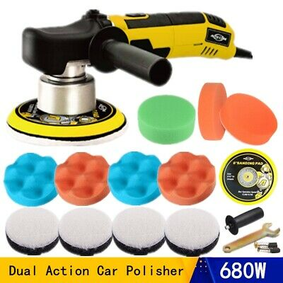 "6"" 680W Electric Car Polisher Dual Action Orbital Buffer Sander Sponge Pad Cover"