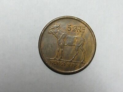 Old Norway Coin Circulated 1972 5 Ore Moose