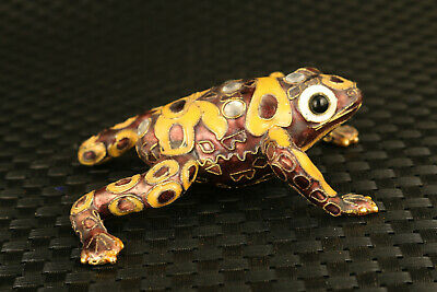 chinese old cloisonne hand work tropical frog statue collectable