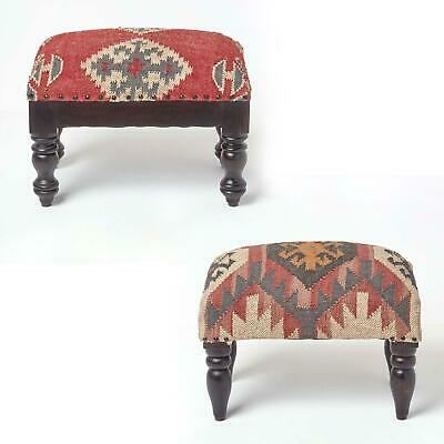 Modern Luxury Kilim Upholstered Rectangle Footstool Pouffe with Wooden Leg