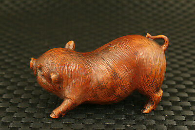 Fine Chinese old boxwood Handcarved pig statue decorate Hand piece collectable