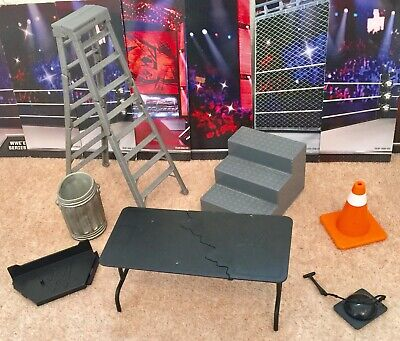 WWE FIGURE accessories Steps Trash  Bell Stand TABLE Ladder Toy Play WRESTLING