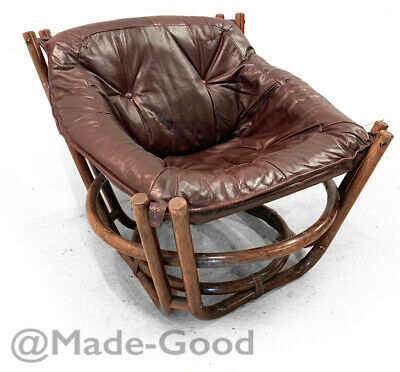1960s 1970s retro vintage DANISH LEATHER BAMBOO FALCON ARM LOUNGE CHAIR