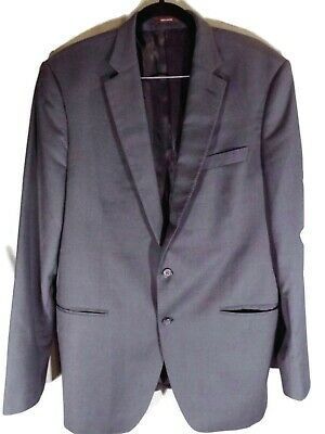 Peter Millar Mens 44T Tall Suit Jacket Blue Wool Glen Check 2-Button 2-Vent  D