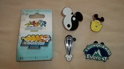 Lot of 5 Different Disney Pins, Mickey Mouse, Everast, Marathon, etc...