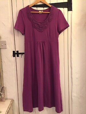 Cotton Traders Ladies Short Sleeved Dress - Purple + Crochet Embroidery Size 14