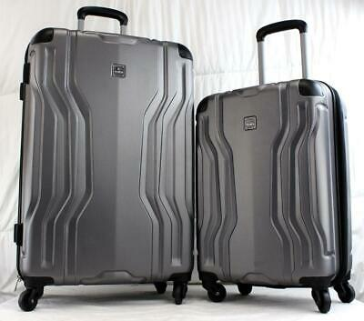 """Tag Legacy 2 Piece Hardside Spinner Luggage Set 27"""" And 21"""" Gray Used"""