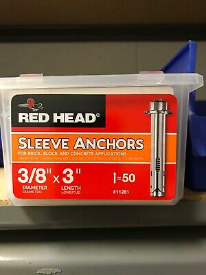 Red Head 3/8 x 3 Sleeve Anchor, Hex Head, 50-Pack