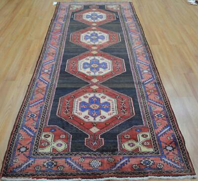 3'8 x 9'6 Dated Vintage Geometric Hand Knotted Wool Rug Oriental Runner 4 x 10
