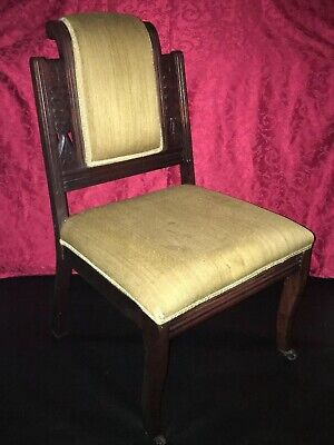 Antique Eastlake Victorian 1800's Upholstered Chair Mahogany