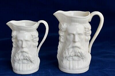 Antique Pair of Graduated Porcelain Whisky Water Jugs - Double Faces Both Sides