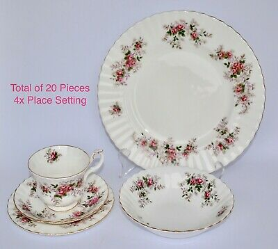 Vtg Royal Albert LAVENDER ROSE 20 Piece Dinner Set - 4x Place Setting - 1st Qlty