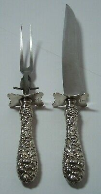 "Kirk Stieff Sterling Silver Repousse Carving Knife 11-1/2"" and Fork 9"" Set"