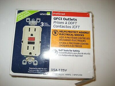 Leviton 15 Amp Self-Test SmartlockPro Slim Duplex GFCI Outlet, Ivory (3-Pack)
