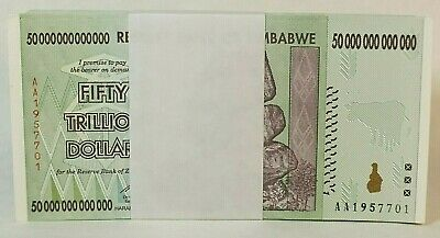 AC 50 Trillion Zimbabwe Uncirculated 2008 BANKNOTE AA NOTE 100% REAL Free Ship