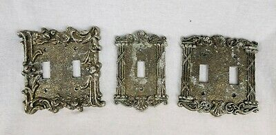 Vintage Light Switch Covers Ornate Roses Victorian Style Lot of 3 Plate Covers