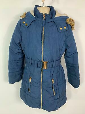 Girl Marks&Spencer Navy Blue Padded Winter School Hood Rain Coat Kids Age 7 Year
