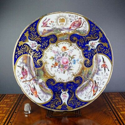 Early 19th Century Coalport Porcelain Plate, Hand Painted Floral Exotic Birds