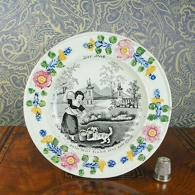 Antique 19th Century Staffordshire Child Plate Girl Dog Playing German Market