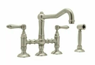 Rohl A1458LMWSSTN-2 Satin Nickel Country Kitchen Faucet - Includes Side Spray