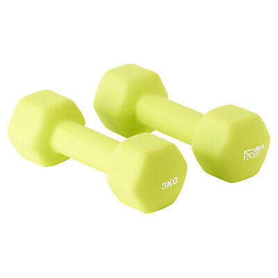 Mirafit 2 x 3kg Green Hex Dumbbell Weights Aerobic Gym Lift Exercise SALE #602