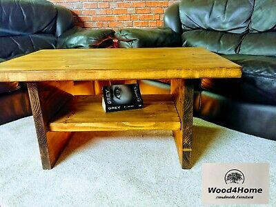 Large Coffee Table with Shelf , Rustic Dark Oak Wax Solid Wood Chunky