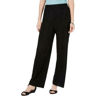 JM Collection Womens Black Textured Pleated Pull On Pants L BHFO 4345