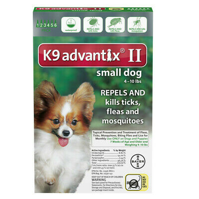 K9 Advantix II for Small Dog 4-10lbs - 6 Pack (US EPA Approved)