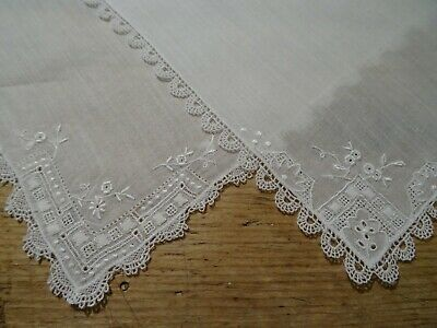2 Small Antique Vintage Delicate Lace Edged Embroidered Handkerchiefs. Wedding