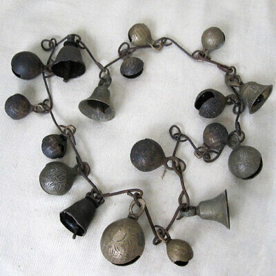Antique Set Of 18 Mixed Size Bells Some Very Worn Shamans Necklace Nepal Tibet