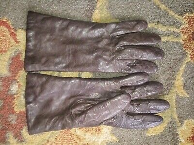 Isotoner Womens Brown Genuine Leather & Cashmere Gloves Size 7