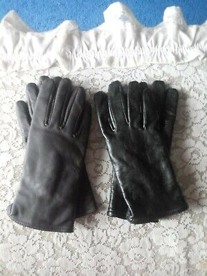 2 PAIR Black & Brown Women's LEATHER GLOVES 40 gm Thinsulate Size Large