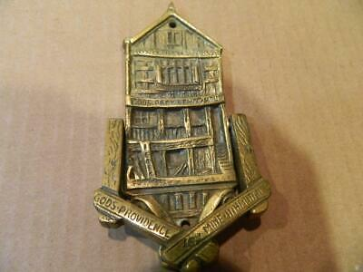 "Heavy House Shape Brass Door Knocker ""Chester Gods Providence"" Vintage"