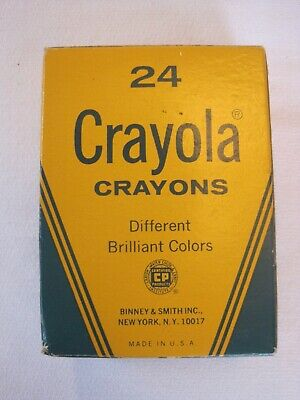 Vintage CRAYOLA Crayons Box of 24 Unused Made in USA Binney & Smith NOS NEW