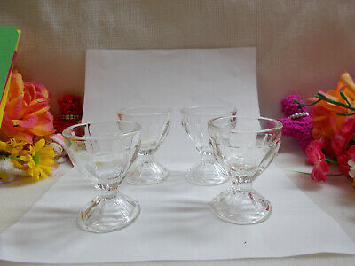 LOVELY CLEAR  DEPRESSION GLASS EGG CUPS x 4 VGC # 592